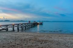 Sunset over the Andaman Sea (Merrillie) Tags: holidays resort landscape sunset pier water coconutisland phangngabay sea phuket beach wharf andamansea dusk twilight island travel waterscape kohmaphrao thevillagecoconutisland clouds thailand