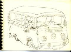 Hulsberg (Crokenflo) Tags: croquis carnetdevoyage croquisdevoyage sketch sketchbook hulsberg crayon potlod nederland netherlands paysbas limburg zuidlimburg véhicule auto vw voiture car