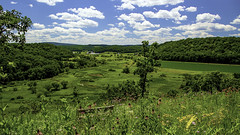 View from Far Overlook (woodchuckiam) Tags: faroverlook pleasantvalleyconservancy wisconsin bench wildflowers wetlands hills forestedhills driftlessarea bluemound sky clouds