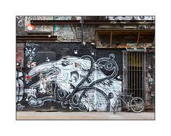 Street Art (THIS 1), East London, England. (Joseph O'Malley64) Tags: this1 streetartist streetart urbanart publicart freeart graffiti eastlondon eastend london england uk britain british greatbritain art artist artistry artwork mural muralist wallmural wall walls protectedbuilding preservationorder gradelllistedbuilding georgianbuilding georgianstructure brickwork bricksmortar cement pointing steelbeams rsjs reinforcedsteeljoists breezeblockinfill steelgates doorways entrances exits woodensignframework limestonestep concrete parkedbicycle pushbike cycle urban urbanlandscape aerosol cans spray paint fujix x100t accuracyprecision unsafestructure dangerousbuilding hazard neglected decay beautyindecay