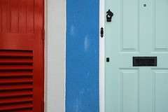 Red white blue aqua (The Green Album) Tags: portishead marina exterior fishing cottage modern red blue white aqua contrast bright cheerful colour paint