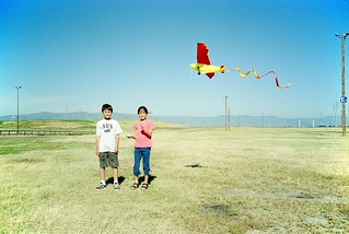 With a kite at Lake Almanor