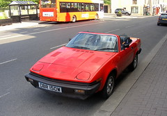 Triumph TR7 V8 Convertible (Lawrence Peregrine-Trousers) Tags: triumph yr7 convertible ragtop soft top scarlet red vermilion bl leyland autoshite ffffffffff car spots spotted tr7