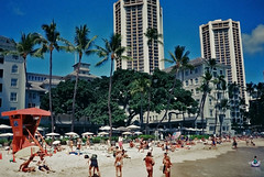 In front of the Moana early '90's (jcc55883) Tags: oahu waikiki waikikibeach moanasurfrider banyantree beach beachscene honolulu film oldfilm 35mmfilm filmphotography canon