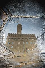 Riflessi palazzo vecchio (mark23az) Tags: palazzo building medici firenze florence italia italy street water acqua pozzanghera rain