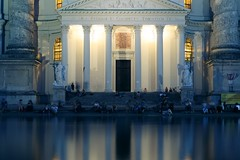 Portico (No_Mosquito) Tags: vienna austria city night lights urban people reflections pool portico columns karlskirche stcharless church symmetry historic centre dusk evening summer baroque nd8 canon powershot g7xmarkii