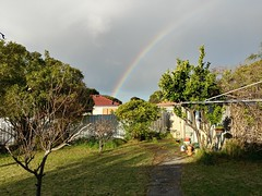 14Jul17 Finished gym for the day and was walking it off when this rainbow greeted me. It made me smile. #2017pad #photoaday #picaday #rainbow #homegymlife #southaustralia