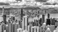 Hong Kong (drasphotography) Tags: hongkong hong kong china victoria peak skyline sky buildings architecture architektur monochrome monochromatic monotone blackandwhite bw bn bianconero schwarzweis cielo drasphotography nikon d810 nikkor2470mmf28 icc travel travelphotography reise reisefotografie globetrekker harbour