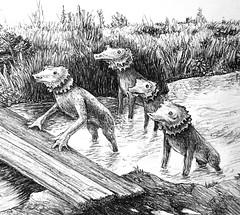 Water dogs (detail) (Marcos Telias) Tags: art illustration sketch drawing water river puente bridge perros dogs dibujo ilustración boceto bosquejo arte artista artist ballpoint bolígrafo pen lápiz fantasy
