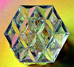 Cut Glass (Smiffy'37) Tags: macromondays bottomsup glass macro closeup cutglass object colourful pattern