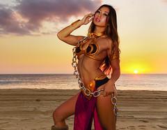 Kat Sweets as Slave Leia (Hawaiian Imagery) Tags: katsweets sukiyuki slaveleia starwars beach sunset sand cosplay costume hawaii oahu model portrait landscapeportrait