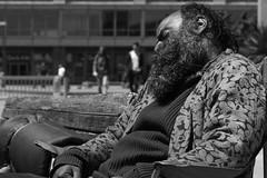 Where will I sleep tomorrow?? (frank.gronau) Tags: frank gronau sony alpha 7 schwarz weis black white bw homeless obdachlos schlafen sleeping bank san francisco bart beard sitzen sit