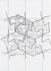 59_20170417 (regolo54) Tags: mc escher nr 59 tessellation tiling wallpaper geometry symmetry pattern mathart regolo54 handmade watercolor aquarelle