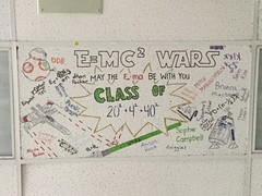 E=MC2 Wars Class of 202+42+402 (splinky9000) Tags: kingston ontario regiopolis notre dame catholic high school rnd electronics class of 2015 star wars bb8 astromech droids emc r2d2 lightsaber xwing starfighter math equation