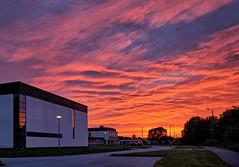 23 AM, Haugesund - Norway (Vest der ute) Tags: xt2 sunset norway rogaland haugesund school trees walkingpath parking area clouds fav25