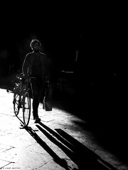 homesickness (René Mollet) Tags: homesickness bicycle bike street streetphotography silhouette shadow streetart mans heart way home