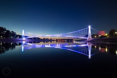 New lights on Osijek suspension bridge (ristic.vedran42) Tags: osijek nightscape bridge suspensionbridge dawn sunrise goldenhour drava river nikon d3200 nikond3200 samyang 10mm uwa croatia long exposure