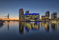 Salford Quays (Brian-Leach) Tags: salford quays media city bbc manchester blue hour reflections sunset