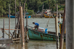 The Fisherman (azahar photography) Tags: water kuantan river malaysia nature sky fisherman sea landscape boat fishing asia travel pahang harbor industry ship transport port dock beautiful reflection tourism coast blue asian shadow beach summer ocean fishermen forest rural morning wood view wooden mangrove colorful fishery holiday scenery jetty topview thailand shipping paddle smallboat village
