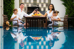 Family take dinner together at the pool (anekphoto) Tags: family dinner table happy food home eating woman female man caucasian male together horizontal boy people healthy lunch adult girl old enjoying children smiling child son wine indoors year celebrate inside night dining backyard chicken having meal roast quiet young sharing person portrait parents yard fresh fun lifestyle holiday pool