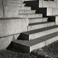 High contrast stairs (alejandro lifschitz) Tags: lifschitz black white blanco negro argentina outdoor hasselblad square lightroom photoshop silver efex pro epson 850 monochrome photo border buenos aires shadows sombras texture ingenieria engineering architecture fence lens noiretblanc camera exposure 120mm roof lines building kodak trix 400 hc110 monocromo abstract concrete concreto hormigon plaza shapes stairs escalera