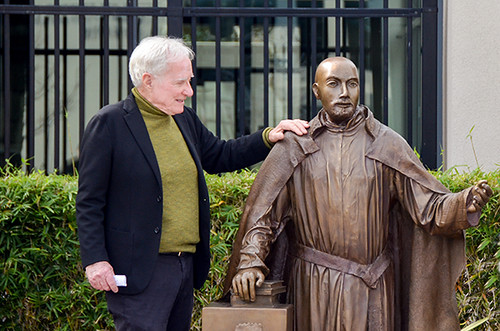 Jerry with his statue of St. Ignatius