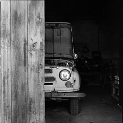 old UAZ (Vsevolod Vlasenko) Tags: uaz car jeep hasselblad kodak400tx analog filmnegative 120 abandoned broken sovietcar soviet odessa christophelacarin minoltadimagescanmultipro 80mmplanar planar zeiss carlzeiss bw travel square