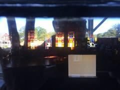 5th Maine Regiment Memorial Hall (1888) – sunset selfie reflection (origamidon) Tags: window stainedglass reflection selfie selfportrait history preservation departmentoftheinterior 5thmaineregiment 5thmainemuseum veterans memorial woodframe shingles civilwar 18611864 nationalregisterofhistoricplaces 06000919 nrhp 01051978 architecture 1888 fifthmaineregimentmemorialbuilding peaksislandmaineusa peaksisland maine me usa 04108 cumberlandcounty donshall origamidon
