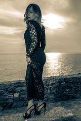Stefania (Sandro Gherbassi 1968) Tags: girl longdress blackandwhite blackandwhitephotograpy sea seascape sunset highheels 5terre model nikon nikkor female bnw