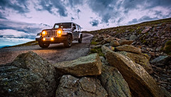Coming Down (Frank C. Grace (Trig Photography)) Tags: jackson newhampshire unitedstates jeep wrangler altitude edition unlimited d810 on1pics mountwashington autoroad newengland nh frankcgrace trigphotography rocks mountain travel dusk twilight bluehour