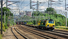 Going Full Tilt (whosoever2) Tags: england unitedkingdom uk gb greatbritain sony dscrx100m3 june 2017 railway railroad train freightliner class70 70017 4m58 rugeley staffordshire cooling tower chimney intermodal freight