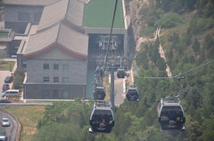 View of where the boarding point from high up in the cable car (shankar s.) Tags: southeastasia china mainlandchina peking beijing beijingcapitalterritory ancienthistory thegreatwallofchina greatwall badalinggreatwall juyongguanpass defenses barrier mingdynasty tourists crowd cablecar ropeway