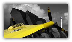 Yellow Wing (jldum) Tags: avion plane architecture architect pilote art artiste yellow wing futuroscope france couleur color