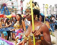 Godess of the Mermaids (kirstiecat (on vacation...)) Tags: mermaid nyc newyorkcity mermaidparade float people happy fun usa america canon street brooklyn coneyisland godess wonderwheel