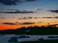 20170625-Crescent Moon at Sunset (ChathamGardens) Tags: capecod moon crescentmoon sunset oysterpond chathamma
