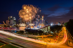 Light in city (maison_2710) Tags: city street travel light car urban cityscape highway motion road speed traffic bridge scene evening singapore blur illuminated dusk fireworks marina bay ndp transportation system 2017
