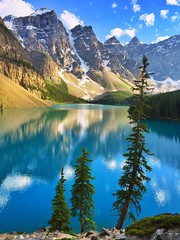 Leaning - iPhone (Jim Nix / Nomadic Pursuits) Tags: iphone snapseed travel alberta canada banff morainelake sunset goldenhour jimnix lake mountains glacier glacial summer