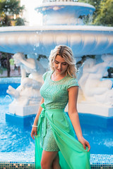 Lady in turquoise dress (DVchigarev) Tags: sochi lady woman girl portait dress colors fountain smile