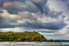 approaching storm (stevefge) Tags: bretagne brittany france pentrez beach sand sky cloud storm headland houses cliffs sea atlantic landscape reflectyourworld drama solitude