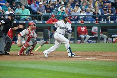 Robinson Cano hitting (hj_west) Tags: baseball philadelphiaphillies seattlemariners safecofield mlb interleague stadium night sports