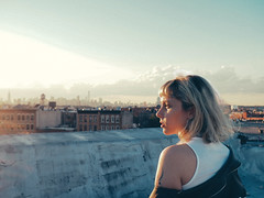 la la la (.MRVXLV.) Tags: olympus om digital portrait young summer sky good vibes vsco new york rooftop girl sunset golden hour manhattan bushwick self