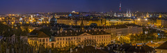 Prague Night Panoramic (Mr. Ansonii) Tags: prague praha praguecastle hrad petrin malastrana europe czechrepublic nikon d3300 longexposure night nightview 55200mm panoramic downtown centraleurope towerparkpraha church