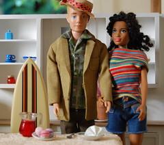 On Vacation (Emily1957) Tags: barbie ken vintagekendoll mattel dolls doll toys toy fashion surfboard light naturallight nikond40 nikon kitlens vintagekendreamboat cutoffs denim naturalgirlsunited curls blackdoll