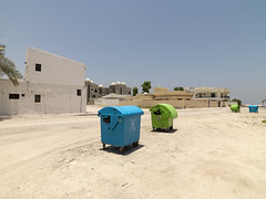 Waste bins in the landscape (Crausby) Tags: wastebins uae sharjah hasselblad newtopographic urban middleeast
