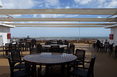 These tables all had to be stowed away as it was too bouncy, cold and wet to eat outside for most of the cruise (Janspen) Tags: cruise ship sagasapphire tables verandah