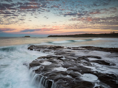A big tide (Rod Burgess) Tags: durraspoint nsw southdurras sunset canoneos5dmarkiv canon1635mmf4l australia rocks waves waterfall evening glow longexposure