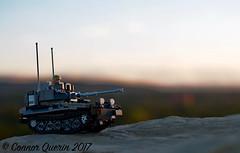 """En-route"" (Connor Querin) Tags: lego cvrt british rac brickmania track links afv armoured vehicle armour armor 135 outdoors calgary skyline evening colour sky contrast recce scimitar light tank qrh"