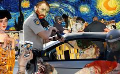 """Profiling"" (barry.kite@att.net) Tags: klimt vangogh postimpressionism viennasecession cops profiling police video trafficstop kiss dogs starrynight thekiss"