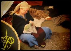 Middle Age handcrafting... (iEagle2) Tags: female femme woman middleage sweden viking olympusep2 olympuspen ep2 foot feet barfuss barfota barefoot barefeet