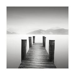 Waiting for the Bus (GlennDriver) Tags: black white mono monochrome switzerland weggis europe lake long exposure jetty pier bw